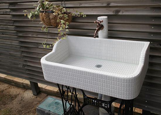 タイル洗面台 ガーデニング施工事例 画像