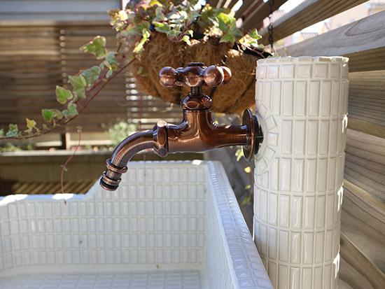 水栓蛇口 レトロ タイル似合う 施工事例 画像写真