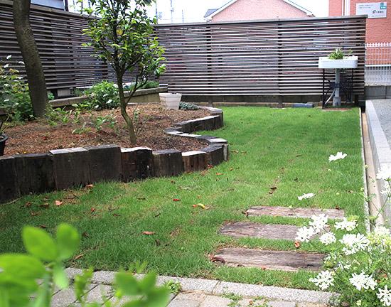 庭 リフォーム 芝生 施工事例 1ヶ月半後 ビフォーアフター