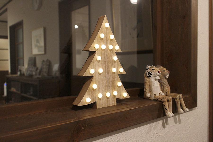 クリスマス 木製オブジェ ウッド 【LEDライト】